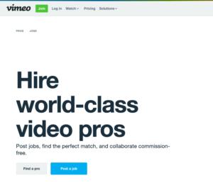 huur een professional in via vimeo