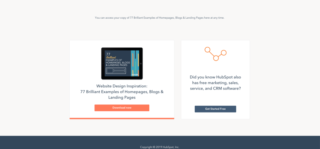 blog bedankpagina extra offer hubspot