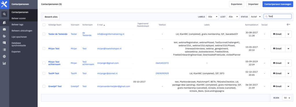 Contactpersonen zijn de basis van ActiveCampaign