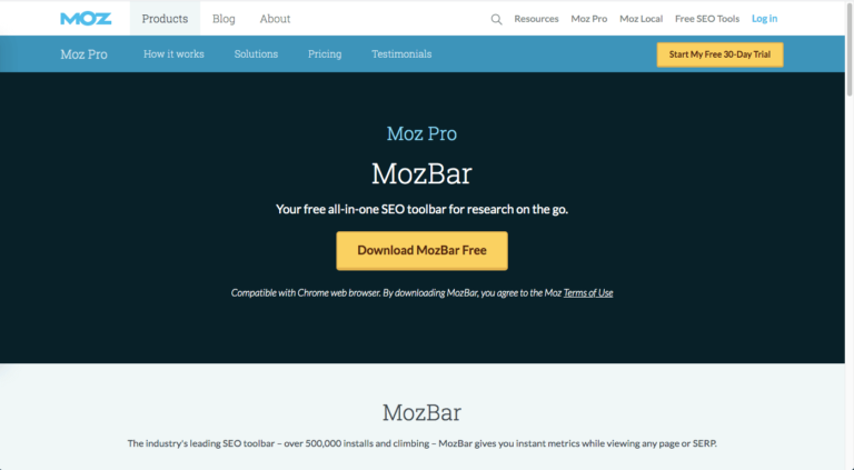 Mozbar SEO tool