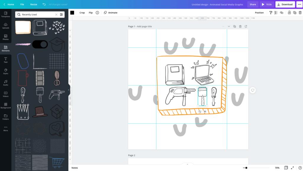 Canva app elementen uitlijnen